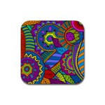 Pop Art Paisley Flowers Ornaments Multicolored Rubber Square Coaster (4 pack)  Front