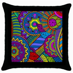 Pop Art Paisley Flowers Ornaments Multicolored Throw Pillow Case (black)