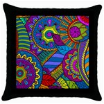 Pop Art Paisley Flowers Ornaments Multicolored Throw Pillow Case (Black) Front