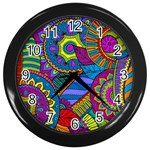 Pop Art Paisley Flowers Ornaments Multicolored Wall Clocks (Black) Front