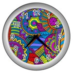 Pop Art Paisley Flowers Ornaments Multicolored Wall Clocks (Silver)  Front