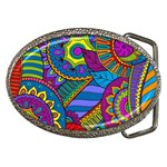 Pop Art Paisley Flowers Ornaments Multicolored Belt Buckles Front
