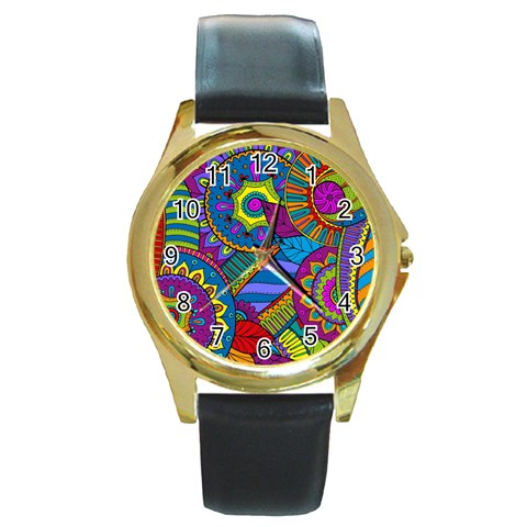 Pop Art Paisley Flowers Ornaments Multicolored Round Gold Metal Watch