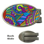 Pop Art Paisley Flowers Ornaments Multicolored Money Clips (Oval)  Front