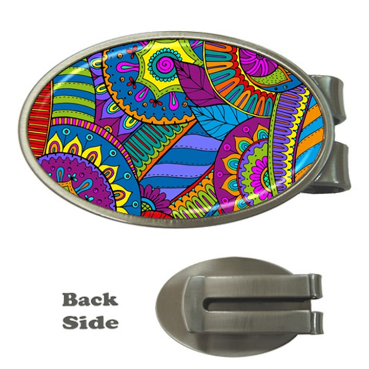 Pop Art Paisley Flowers Ornaments Multicolored Money Clips (Oval)
