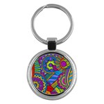Pop Art Paisley Flowers Ornaments Multicolored Key Chains (Round)  Front
