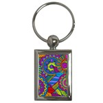 Pop Art Paisley Flowers Ornaments Multicolored Key Chains (Rectangle)  Front