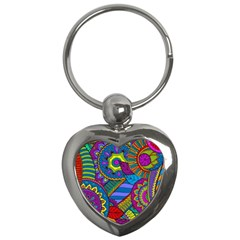 Pop Art Paisley Flowers Ornaments Multicolored Key Chains (heart)