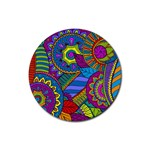 Pop Art Paisley Flowers Ornaments Multicolored Rubber Coaster (Round)  Front