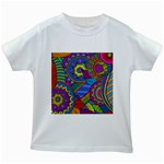 Pop Art Paisley Flowers Ornaments Multicolored Kids White T-Shirts Front
