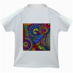 Pop Art Paisley Flowers Ornaments Multicolored Kids White T-Shirts Back