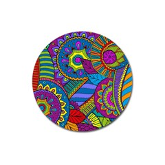 Pop Art Paisley Flowers Ornaments Multicolored Magnet 3  (Round)