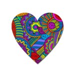 Pop Art Paisley Flowers Ornaments Multicolored Heart Magnet Front