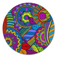 Pop Art Paisley Flowers Ornaments Multicolored Magnet 5  (Round)