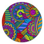 Pop Art Paisley Flowers Ornaments Multicolored Magnet 5  (Round) Front