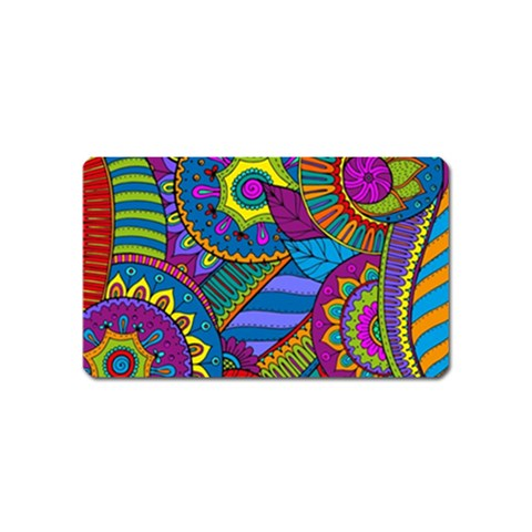 Pop Art Paisley Flowers Ornaments Multicolored Magnet (Name Card)