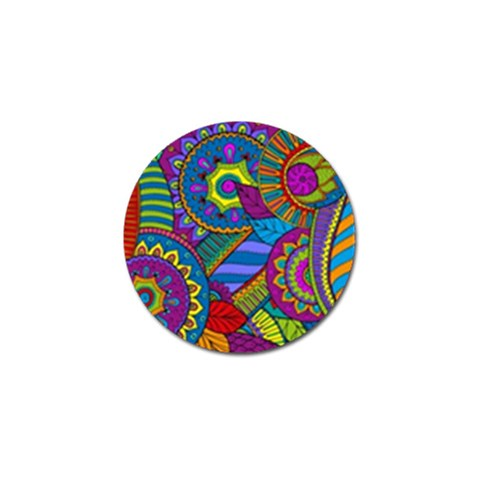 Pop Art Paisley Flowers Ornaments Multicolored Golf Ball Marker (4 pack)