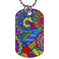 Pop Art Paisley Flowers Ornaments Multicolored Dog Tag (two Sides)