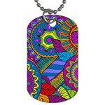 Pop Art Paisley Flowers Ornaments Multicolored Dog Tag (Two Sides) Back