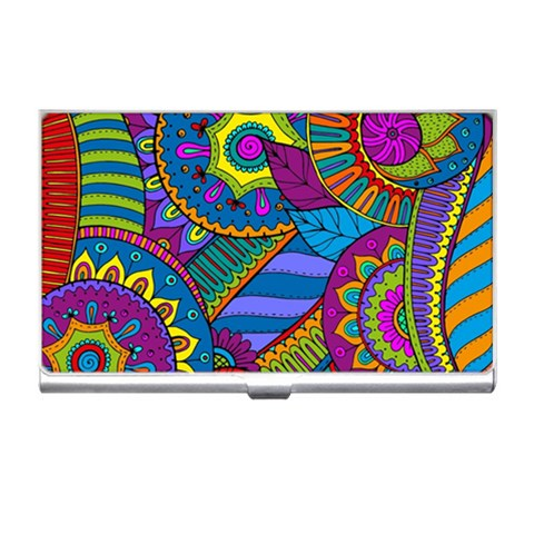 Pop Art Paisley Flowers Ornaments Multicolored Business Card Holders