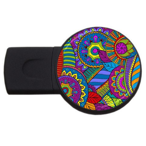 Pop Art Paisley Flowers Ornaments Multicolored USB Flash Drive Round (1 GB)