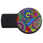 Pop Art Paisley Flowers Ornaments Multicolored USB Flash Drive Round (1 GB)  Front