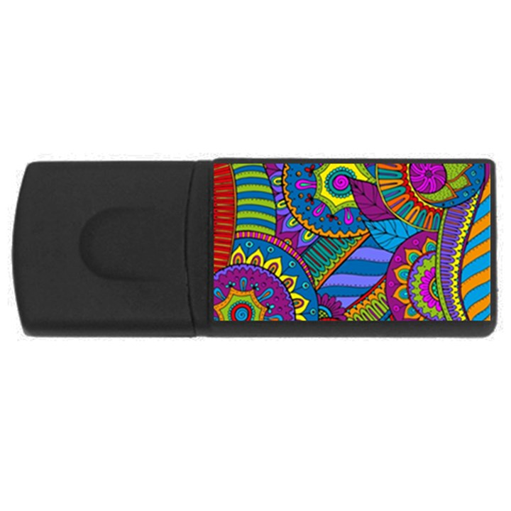 Pop Art Paisley Flowers Ornaments Multicolored USB Flash Drive Rectangular (2 GB)