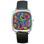 Pop Art Paisley Flowers Ornaments Multicolored Square Metal Watch Front