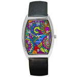 Pop Art Paisley Flowers Ornaments Multicolored Barrel Style Metal Watch Front