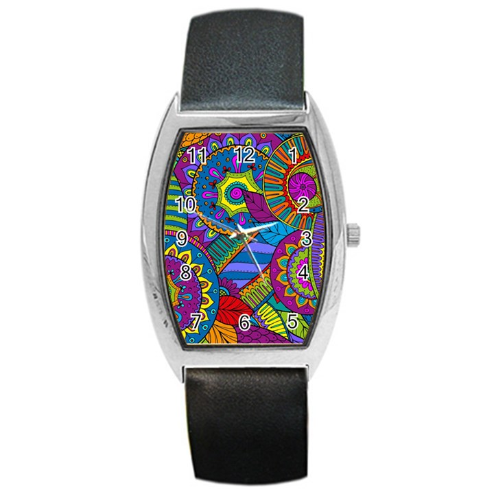 Pop Art Paisley Flowers Ornaments Multicolored Barrel Style Metal Watch