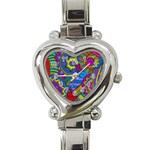 Pop Art Paisley Flowers Ornaments Multicolored Heart Italian Charm Watch Front