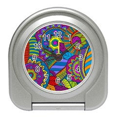 Pop Art Paisley Flowers Ornaments Multicolored Travel Alarm Clocks