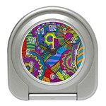 Pop Art Paisley Flowers Ornaments Multicolored Travel Alarm Clocks Front