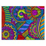 Pop Art Paisley Flowers Ornaments Multicolored Rectangular Jigsaw Puzzl Front