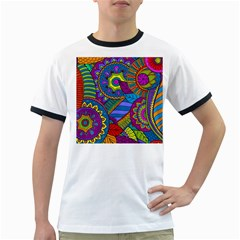 Pop Art Paisley Flowers Ornaments Multicolored Ringer T Shirts