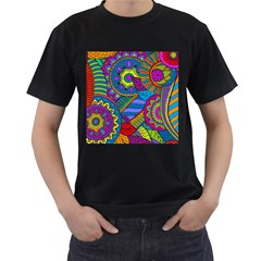 Pop Art Paisley Flowers Ornaments Multicolored Men s T-Shirt (Black) (Two Sided)