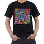 Pop Art Paisley Flowers Ornaments Multicolored Men s T-Shirt (Black) (Two Sided) Front