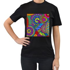 Pop Art Paisley Flowers Ornaments Multicolored Women s T Shirt (black) (two Sided)