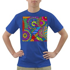 Pop Art Paisley Flowers Ornaments Multicolored Dark T Shirt