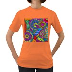 Pop Art Paisley Flowers Ornaments Multicolored Women s Dark T-Shirt Front