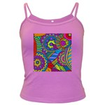 Pop Art Paisley Flowers Ornaments Multicolored Dark Spaghetti Tank Front