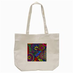Pop Art Paisley Flowers Ornaments Multicolored Tote Bag (cream)