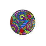 Pop Art Paisley Flowers Ornaments Multicolored Hat Clip Ball Marker Front