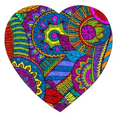 Pop Art Paisley Flowers Ornaments Multicolored Jigsaw Puzzle (Heart)