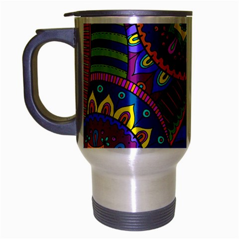 Pop Art Paisley Flowers Ornaments Multicolored Travel Mug (Silver Gray)