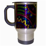 Pop Art Paisley Flowers Ornaments Multicolored Travel Mug (Silver Gray) Left
