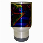 Pop Art Paisley Flowers Ornaments Multicolored Travel Mug (Silver Gray) Center