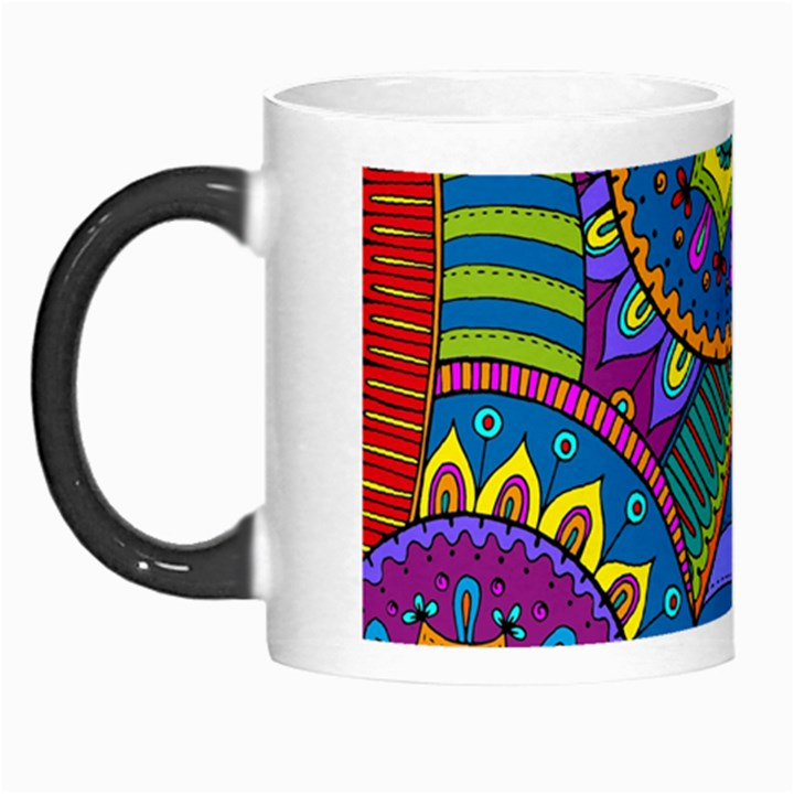 Pop Art Paisley Flowers Ornaments Multicolored Morph Mugs