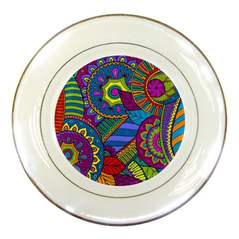 Pop Art Paisley Flowers Ornaments Multicolored Porcelain Plates
