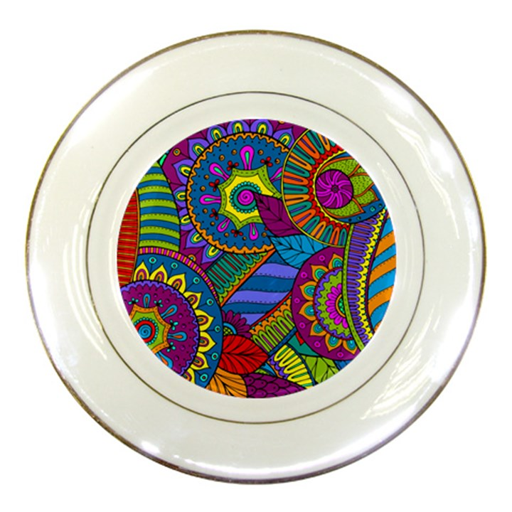 Pop Art Paisley Flowers Ornaments Multicolored Porcelain Plates